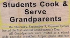 Students Cook and Serve Grandparents